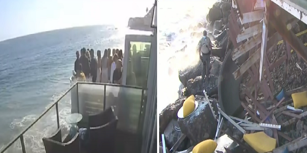 Video captures terrifying moment packed balcony collapses in Malibu, partygoers fall onto rocks